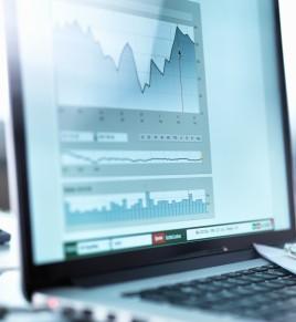 Share price data from investors portfolio on a laptop