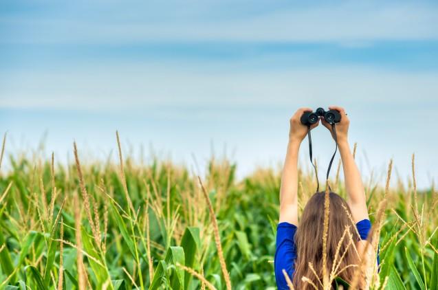 Woman holding a binocular in a field