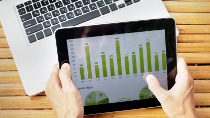 Tablet with infographics